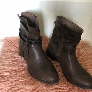 Leather Brown Fringe Booties Size 7